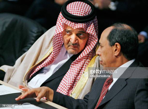 Saudi Foreign Affairs Minister Saud AlFaisal and Qatar Minister of State for Foreign Affairs Ahmed bin Abdulla alMahmoud speak during the opening...