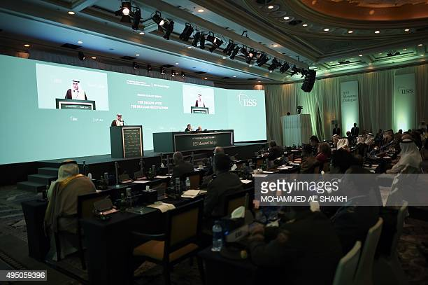Saudi Foreign Minister Adel alJubeir delivers a speech during the 11th Manama Dialogue Regional Security Summit organised by the International...