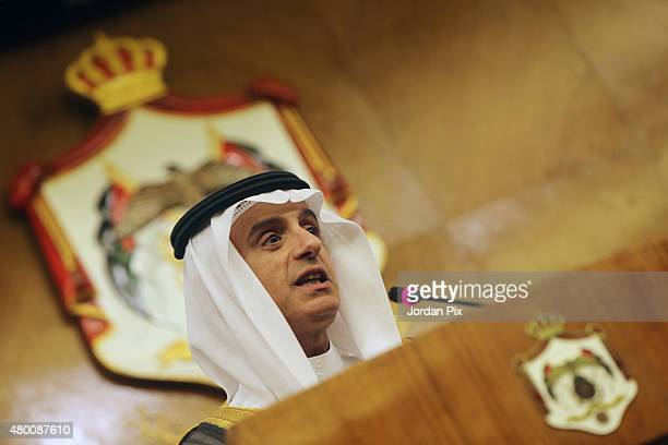 Saudi Foreign minister Adel Al-Jubeir holds a press conference with his Jordanian counterpart Nasser Judeh upon their meeting at the foreign ministry...