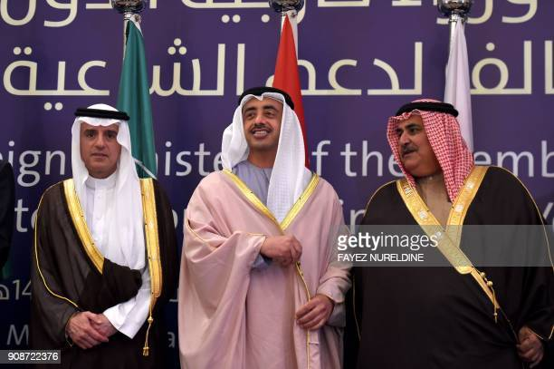 Saudi Foreign Minister Adel alJubeir poses for a group picture with his Emirati and Bahraini counterparts Sheikh Abdullah bin Zayed bin Sultan al...