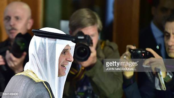 Saudi Foreign Minister Adel alJubeir smiles during a joint press conference with his German counterpart on May 25 2016 at the Foreign Ministry in...