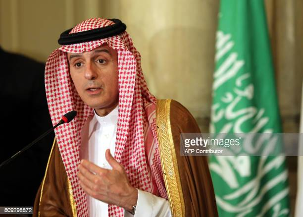 Saudi Foreign Minister Adel alJubeir talks to reporters during a joint press conference with his Emirati Egyptian and Bahraini counterparts after...