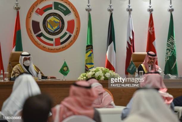 Saudi Foreign Minister Faisal bin Farhan al-Saud and Secretray General of the Gulf Cooperation Council Nayef bin Falah Al-Hajraf, hold a press...
