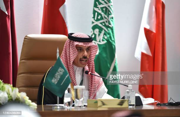 Saudi Foreign Minister Faisal bin Farhan al-Saud holds a press conferece at the end of the 41st Gulf Cooperation Council summit, in the city of...