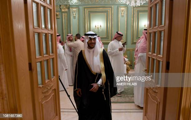 Saudi groom Basil Albani attends his wedding at his home in the Red Sea resort of Jeddah on September 6 2018 It was a Saudi wedding like any other...