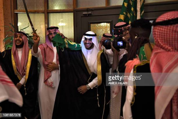 Saudi groom Basil Albani dances with his friends at his home during his wedding in the Red Sea resort of Jeddah on September 6 2018 It was a Saudi...