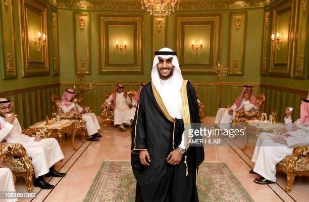Saudi groom Basil Albani poses at his home during his wedding in the Red Sea resort of Jeddah on September 6 2018 It was a Saudi wedding like any...