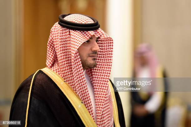 Saudi Interior Minister Abdulaziz bin Saud bin Nayef looks on during a meeting between the Saudi King and a delegation of Lebanon's Maronite...
