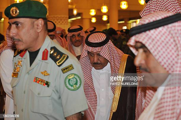 Saudi Interior Minister Nayef bin Abdel Azziz the funeral of his halfbrother the late Saudi Crown Prince Sultan bin Abdel Aziz at Imam Turki bin...