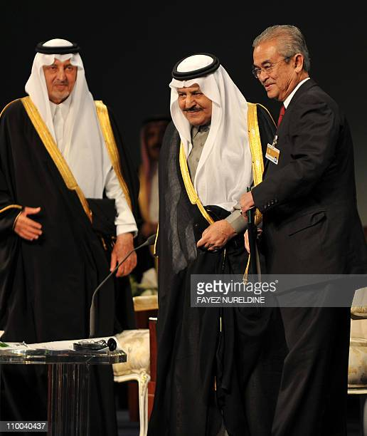 Saudi Interior Minister Prince Nayef bin Abdul Aziz and Prince Khaled alFaisal bin Abdul Aziz governor of Mecca pose for a picture with former...