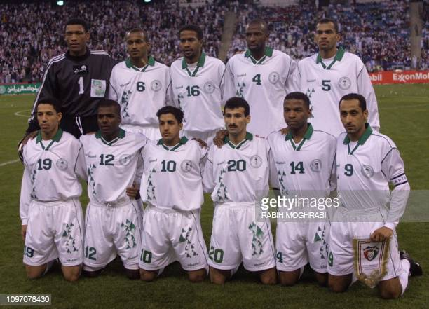 Saudi International team pose before their match with Kuwait From LR goalkeeper Mohammed AlDeayea Ibrahim AlHarbi Khamis Hamad AlDousari Abdullah...