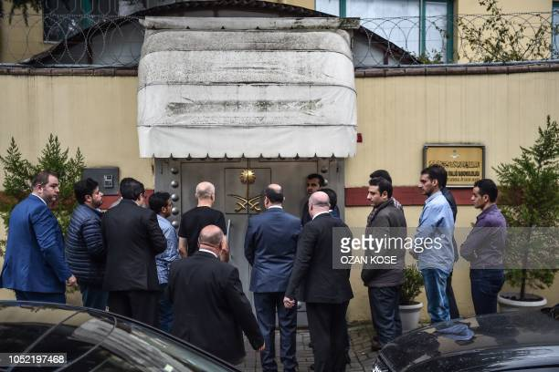 Saudi investigation delegation enter the consulate before Turkish forensic police and investigation delegation arrive at the Saudi Arabian consulate...