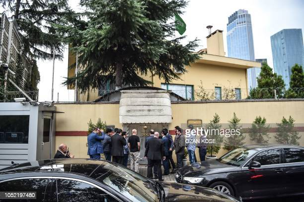 TOPSHOT Saudi investigation delegation enter the consulate before Turkish forensic police and investigation delegation arrive at the Saudi Arabian...