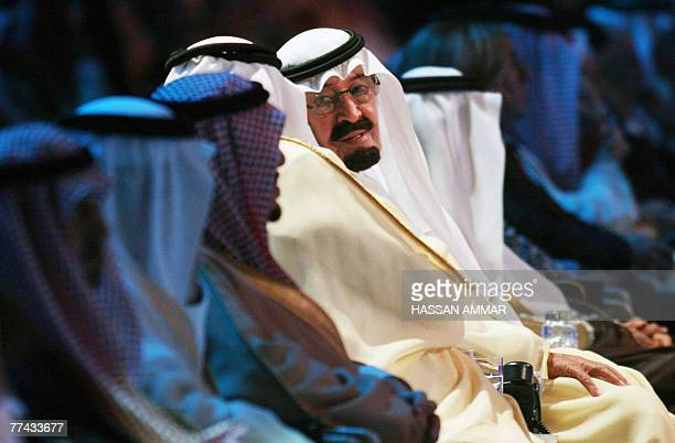 Saudi King Abdullah bin Abdul Aziz alSaud attends the opening of the King Abdullah University of Science and Technology at Thawul village 80 km North...