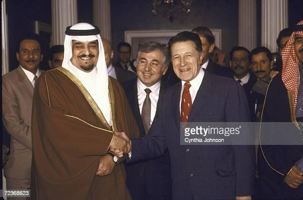 Saudi King Fahd with US Defense Secretary Caspar Weinberger and Prince Bandar