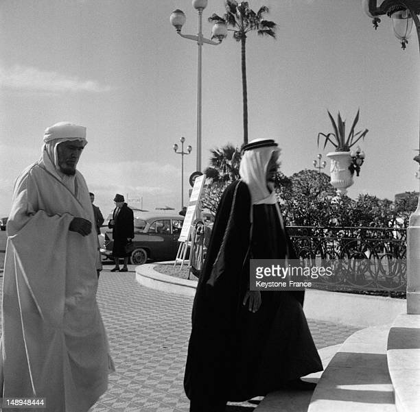 Saudi King Ibn Saud and his cousin Prince Mohammad Ben Turkey Who Travel With Him Arrive At The Negresco Hotel on March 25 1963 in Nice France