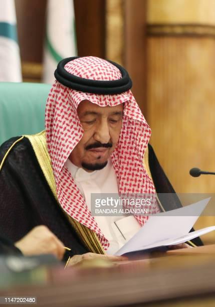 Saudi King Salman bin Abdulaziz addresses the opening session of a summit of the 57member Organization of Islamic Cooperation in the Saudi holy city...