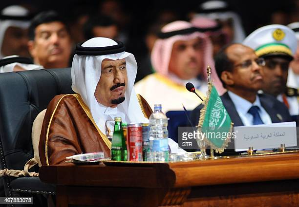 Saudi King Salman bin Abdulaziz alSaud attends the Arab League summit in Egypt's Red Sea resort of Sharm ElSheikh on March 28 2015 AFP PHOTO/ STR