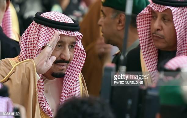 Saudi King Salman bin Abdulaziz arrives to attend the inauguration ceremony of the Yanbu Aramco Sinopec Refining Company project on January 20 2016...
