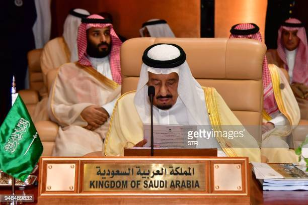 Saudi King Salman bin Abdulaziz attends the 29th Summit of the Arab League at the Ithra center in Dhahran Eastern Saudi Arabia on April 15 2018