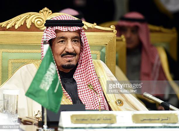 Saudi King Salman bin Abdulaziz attends the second day of the 136th Gulf Cooperation Council summit held in Riyadh on December 10 2015 as kings and...