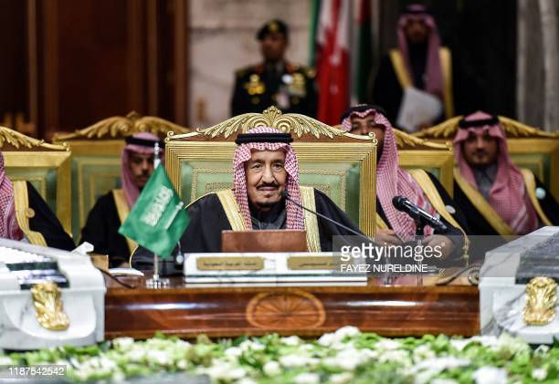 Saudi King Salman bin Abdulaziz chairs a session of the 40th Gulf Cooperation Council summit held at the Saudi capital Riyadh on December 10 2019