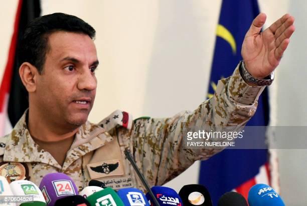 Saudi led coalition spokesman Turki AlMalki gives a press conference at the King Salman Airbase in Riyadh on November 5 2017 / AFP PHOTO / FAYEZ...
