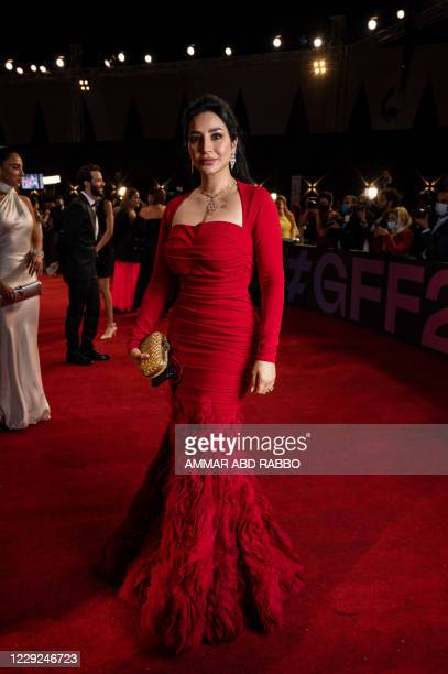 Saudi media personality Lujain Omran arrives at the opening ceremony of the 4th edition of El Gouna Film Festival, in the Egyptian Red Sea resort of...