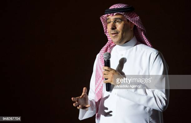 Saudi Minister of Culture and Information Awwad Alawwad attends the opening ceremony of the AMC Entertainment Cinema in the King Abdullah Financial...