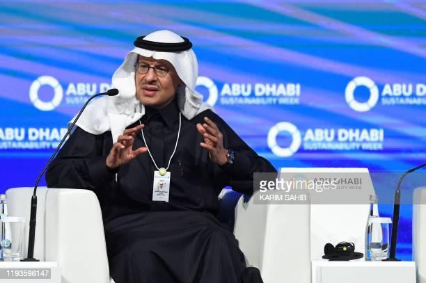 Saudi Minister of Energy Prince Abdulaziz bin Salman al-Saud speaks during the Future Sustainability Summit at Abu Dhabi National Exhibition Centre...