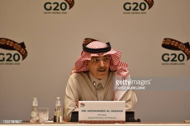 Saudi Minister of Finance Mohammed Al-Jadaan speaks during a meeting of Finance ministers and central bank governors of the G20 nations in the Saudi...