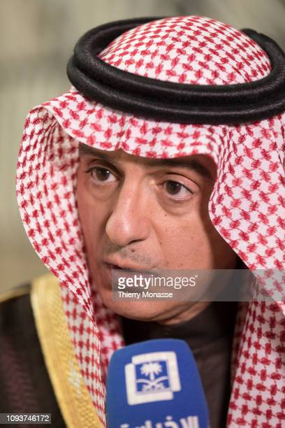 Saudi Minister of Foreign Affairs Adel bin Ahmed Al-Jubeir is talking to media at the end of an EU - Arab League ministerial meeting at the Europa...