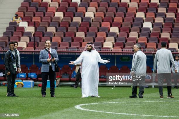 Saudi Minister of Sports Turki Al Sheikh during the official training before the opening game of the 2018 FIFA World Cup between Russia and Saudi...