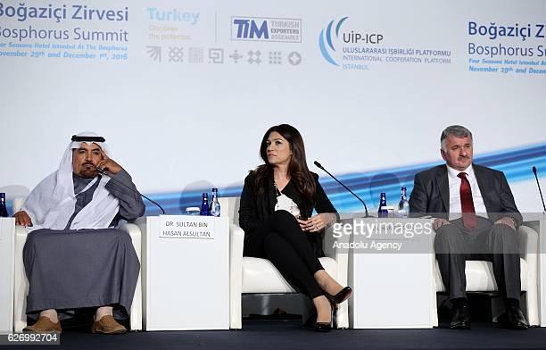 Saudi MP Sultan Bin Hasan Al Sultan Marketing Director of TAV Airports Holding Aslihan Cortuk and Head of the Turkish Airlines Bilal Eksi attend the...