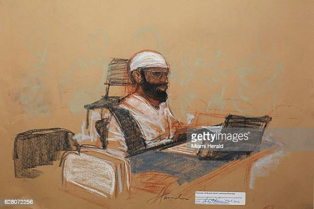 Saudi Mustafa al Hawsawi appears in this courtroom sketch during his arraignment as an accused 9/11 co-conspirator at Guantanamo Bay, Cuba, Saturday,...