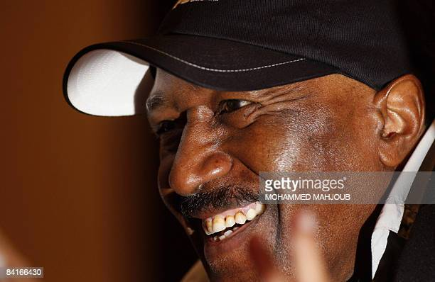 Saudi national football team coach Nasser alJohar smiles as he attends a press conference ahead of the 19th Gulf Cup in Muscat on January 4 2009 The...