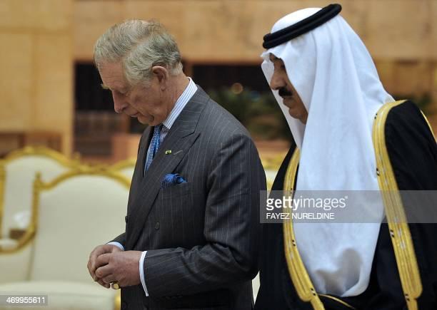 Saudi National Guard Minister Mutaib bin Abdullah bin Abdulaziz meets Britain's Prince Charles on February 17 2014 in Riyadh Prince Charles in on an...