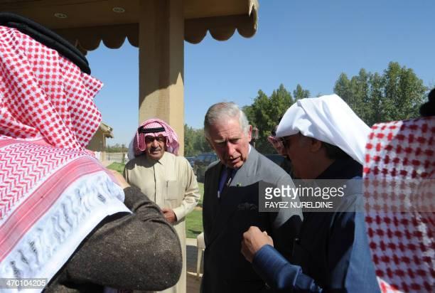 Saudi National Guard minister Prince Mutaib bin Abdullah bin Abdulaziz and Prince Mugren bin Abdulaziz second deputy Prime Minister escort Britain's...