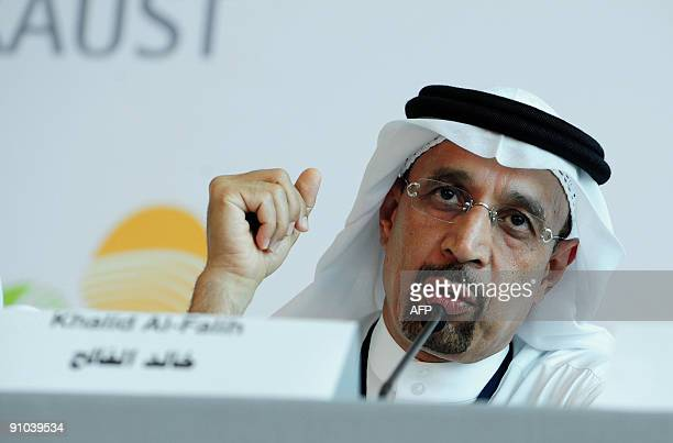 Saudi national oil company Aramco'soperations chief Khaled alFaleh attends a press conference ahead of the official opening of King Abdullah...