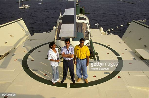 Saudi Prince Al Whaleed grandson of Saudi Arabia founder Muhammad ibn Saoud enjoys his 86meter yacht 'Kingdom' with his son Prince Kahled and his...