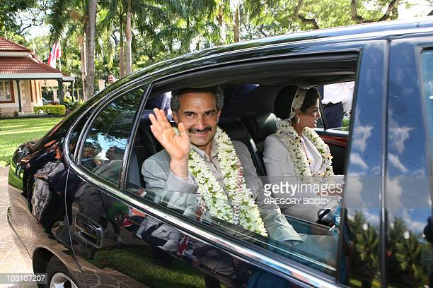 Saudi Prince AlWaleed bin Talal and his wife Princess Amira alTaweel leave after a meeting with President of French Polynesia Gaston Tong Sang on...