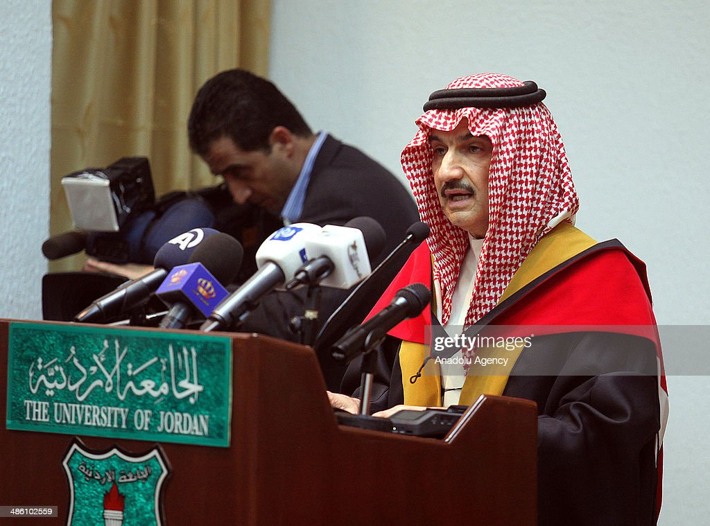 Saudi Prince Al-Waleed bin Talal at University of Jordan in Amman to receive the title of honorary PhD on April 22, 2014.