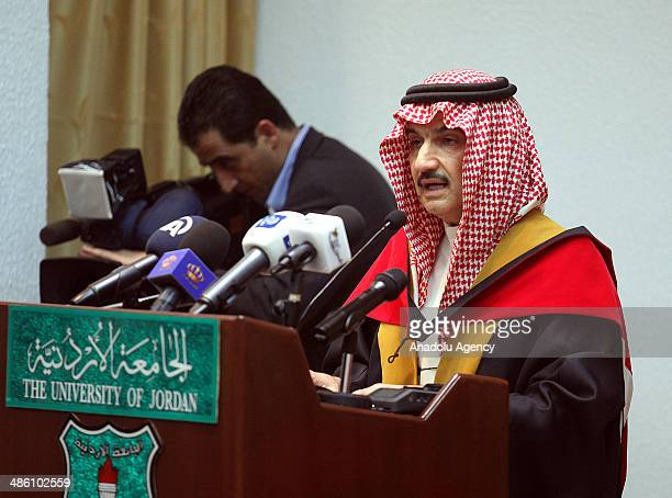 Saudi Prince AlWaleed bin Talal at University of Jordan in Amman to receive the title of honorary PhD on April 22 2014