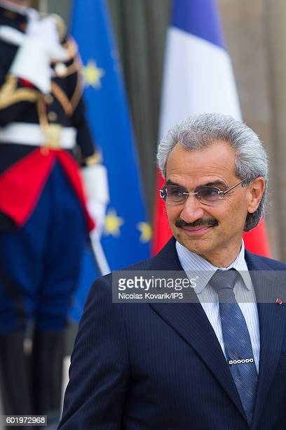 Saudi Prince AlWaleed bin Talal bin Abdulaziz Al Saoud arrives to meet French President Francois Hollande at the Elysee Palace on September 8 2016 in...