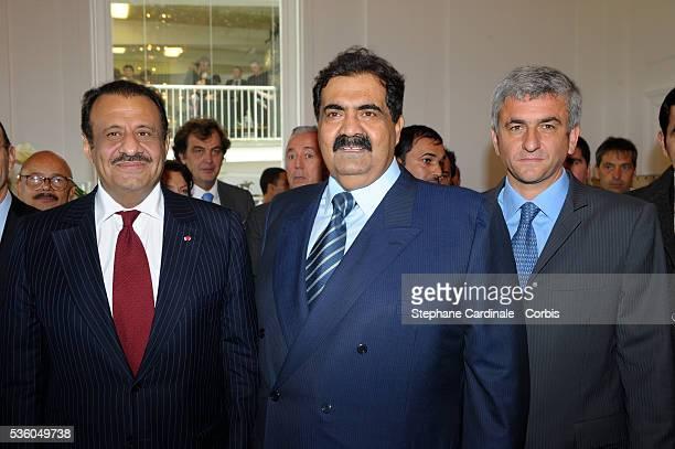HRH Saudi Prince Khaled Bin Sultan Sheikh Hamad bin Khalifa Al Thani of Qatar and Herve Morin at the 'QatarPrix de l'Arc de Triomphe'