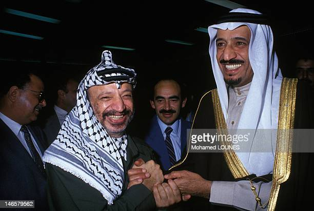 Saudi Prince Salman bin Abdul-Aziz Al Saud, Governor of Riyadh Province, with PLO leader Yasser Arafat on November 20, 1988 in Algiers, Algeria.