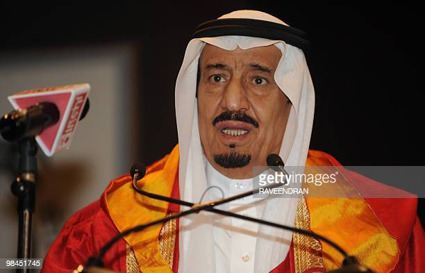 Saudi Prince Salman bin Abdulaziz AlSaud the Governor of Riyadh delivers his speech during a special convocation at Jamia Millia Islamia University...