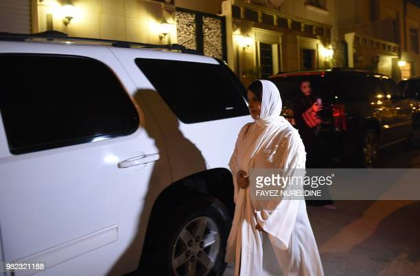 Saudi Samar Almogren prepares to drive her car through Riyadh city's streets for the first time just after midnight June 24 when the law allowing...
