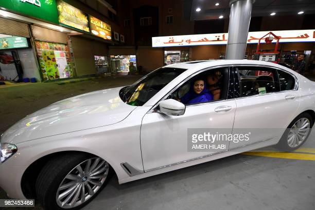 Saudi Samira AlGhamdi is seen in her car with family driving at food court in the coastal city of Jeddah for the first time Little after midnight the...