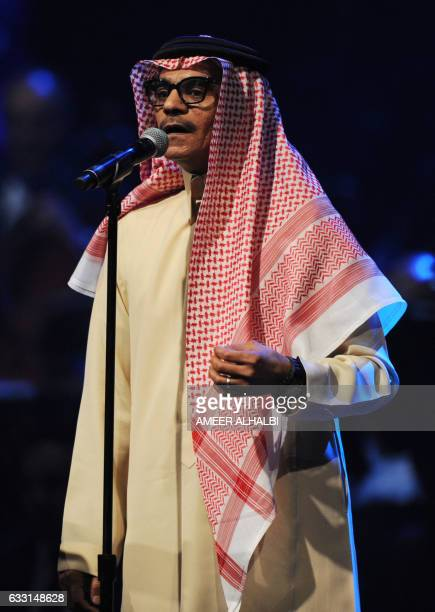 CORRECTION Saudi singer Rabeh Sager known as 'Abu Sager' sings during a concert in Jeddah on January 30 2017 Saudi Arabia's 'Paul McCartney' took to...